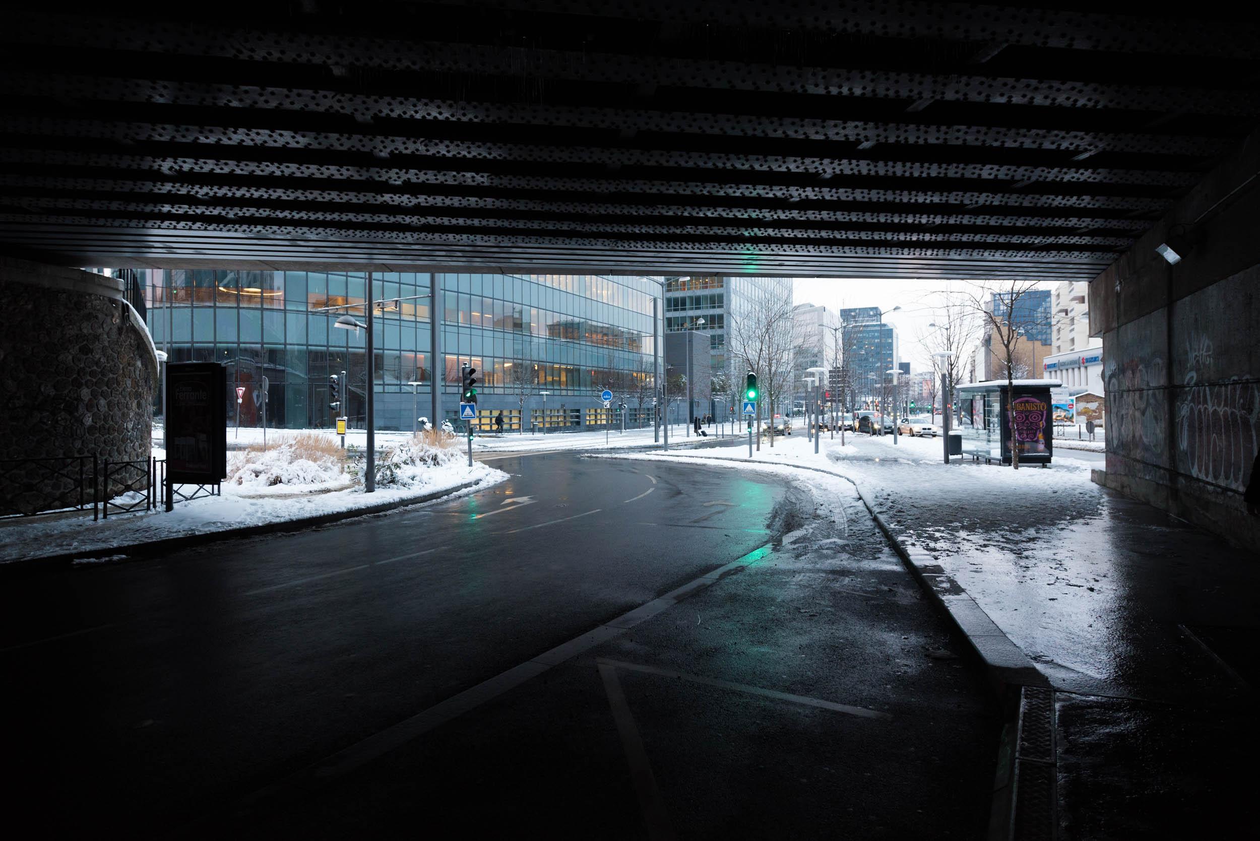 Courbevoie sous la neige